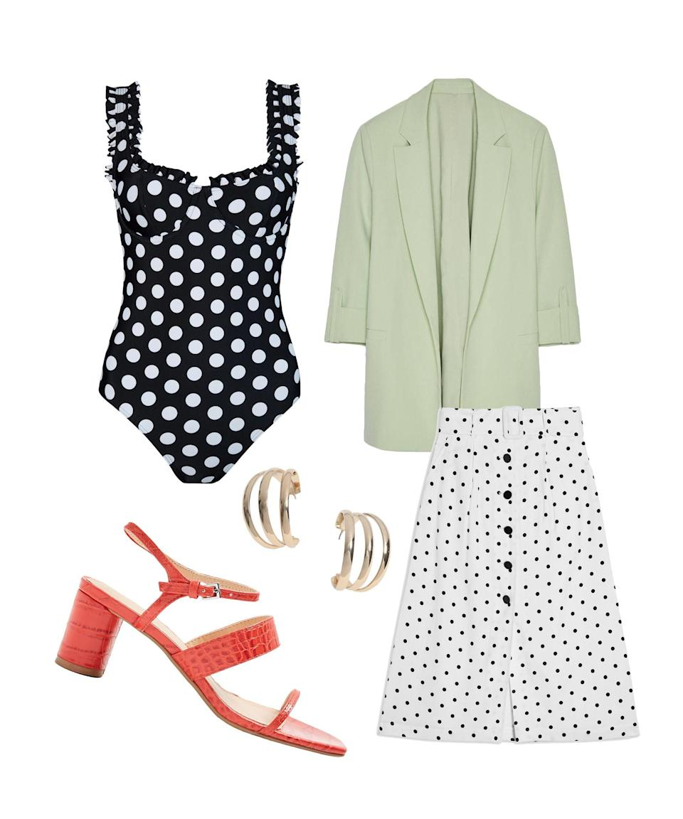"""<p>It's time to do the mix and match. Add black and white polka dots (from Rixo) to white and black polka dots (from Topshop) and you've got the perfect clash. Splashes of colour like mint and red will take the look to new summery heights.</p><br><br><strong>Rixo London</strong> Polka Dot Swimsuit, $130, available at <a href=""""https://www.rixo.co.uk/product/valentina-polkadot/"""" rel=""""nofollow noopener"""" target=""""_blank"""" data-ylk=""""slk:Rixo London"""" class=""""link rapid-noclick-resp"""">Rixo London</a><br><br><strong>Topshop</strong> Black And White Spot Midi Skirt, $39, available at <a href=""""https://www.topshop.com/en/tsuk/product/black-and-white-belted-spot-midi-skirt-8847649"""" rel=""""nofollow noopener"""" target=""""_blank"""" data-ylk=""""slk:Topshop"""" class=""""link rapid-noclick-resp"""">Topshop</a><br><br><strong>Bershka</strong> Blazer With Rolled-Up Sleeves, $29.99, available at <a href=""""https://www.bershka.com/gb/blazer-with-rolled-up-sleeves-c0p102098291.html?colorId=513"""" rel=""""nofollow noopener"""" target=""""_blank"""" data-ylk=""""slk:Bershka"""" class=""""link rapid-noclick-resp"""">Bershka</a><br><br><strong>Miss Selfridge</strong> Gold Three Row Hoop Earrings, $7.5, available at <a href=""""https://www.missselfridge.com/en/msuk/product/gold-three-row-hoop-earrings-8689209"""" rel=""""nofollow noopener"""" target=""""_blank"""" data-ylk=""""slk:Miss Selfridge"""" class=""""link rapid-noclick-resp"""">Miss Selfridge</a><br><br><strong>Topshop</strong> Red Strap Sandals, $32, available at <a href=""""https://www.topshop.com/en/tsuk/product/dita-red-strap-sandals-8792771"""" rel=""""nofollow noopener"""" target=""""_blank"""" data-ylk=""""slk:Topshop"""" class=""""link rapid-noclick-resp"""">Topshop</a>"""