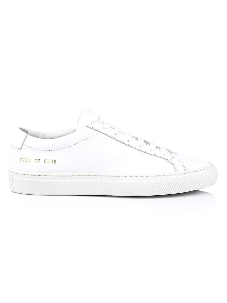 <p>For a clean finish, these <span>Common Projects Original Achilles Leather Sneakers</span> ($425) are fail-safe.</p>