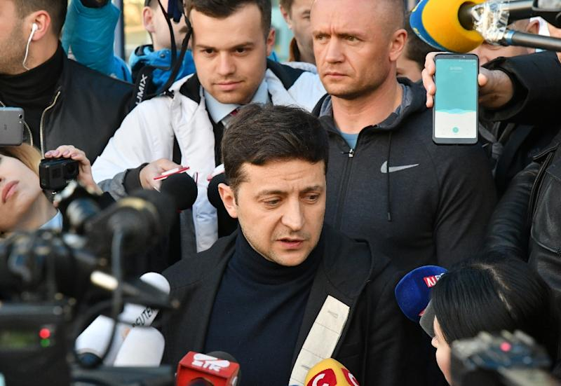"""Zelensky's schoolteacher character in """"Servant of the People"""" becomes president after an expletive-laden tirade goes viral. He has capitalised on Ukrainians' despair over mainstream politics, war with Kremlin-backed rebels, poverty and corruption (AFP Photo/Genya SAVILOV)"""