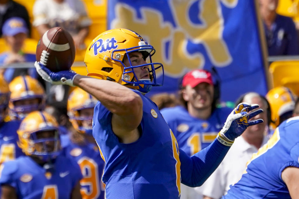 Pittsburgh quarterback Kenny Pickett (8) throws a pass against the Western Michigan during the first half of an NCAA college football game, Saturday, Sept. 18, 2021, in Pittsburgh. (AP Photo/Keith Srakocic)
