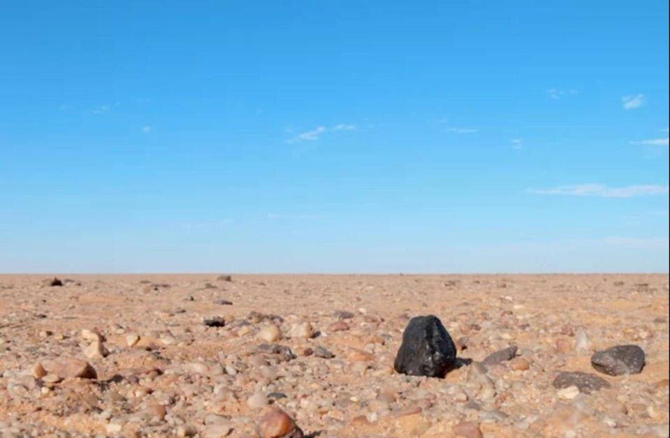 The black fragment of Almahata Sitta meteorite No.number 15 appears stark against the lighter-colored rocks of the Nubian Desert in northern Sudan. <cite>Peter Jenniskens (SETI Institute/NASA Ames)</cite>
