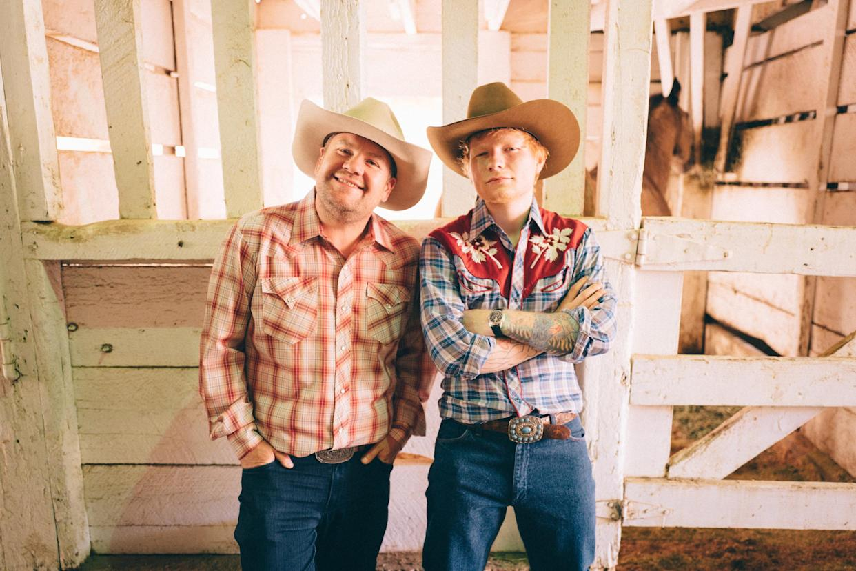 LOS ANGELES - JUNE 4: Ed Sheeran and James Corden learn to be cowboys on The Late Late Show with James Corden. (Photo by Terence Patrick/CBS via Getty Images)