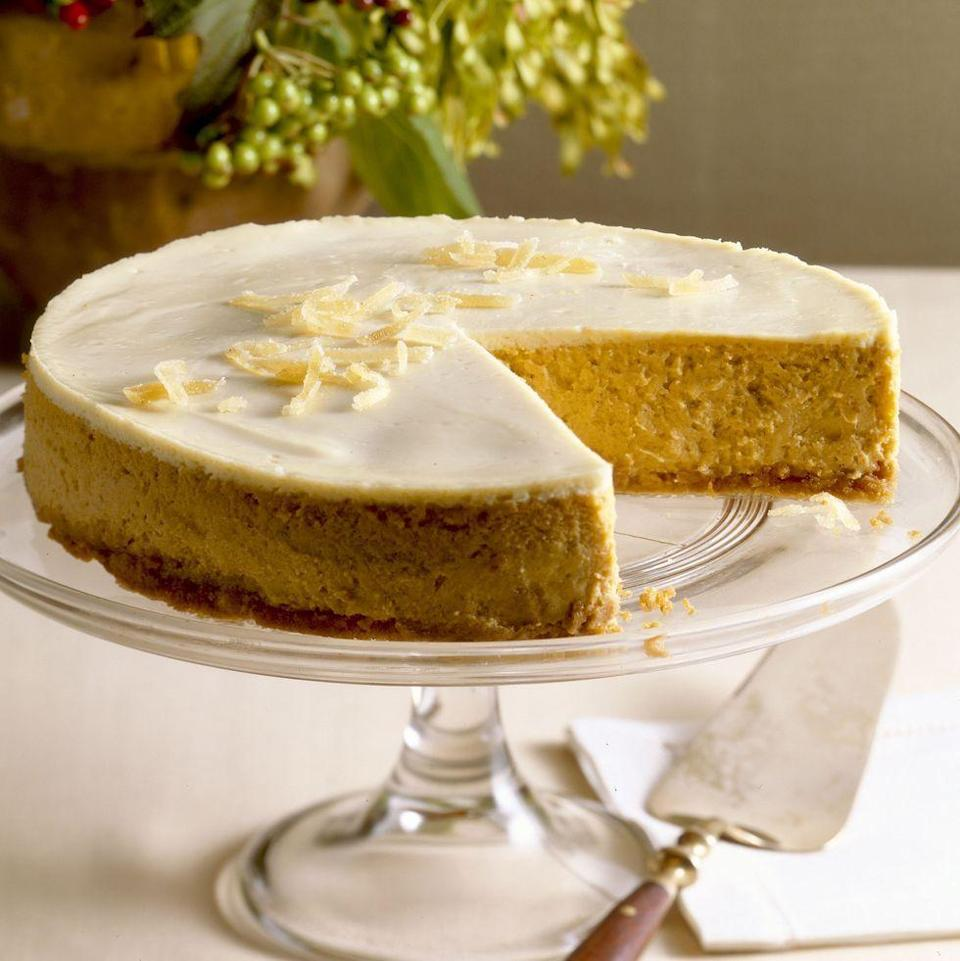"""<p>Use chocolate graham crackers in the crust to give this creamy dessert the colors of Halloween.</p><p><em><a href=""""https://www.goodhousekeeping.com/food-recipes/a4817/pumpkin-cheesecake-709/"""" rel=""""nofollow noopener"""" target=""""_blank"""" data-ylk=""""slk:Get the recipe for Pumpkin Cheesecake »"""" class=""""link rapid-noclick-resp"""">Get the recipe for Pumpkin Cheesecake »</a></em></p><p><strong>RELATED: </strong><a href=""""https://www.goodhousekeeping.com/food-recipes/dessert/g4454/pumpkin-cheesecake-recipes/"""" rel=""""nofollow noopener"""" target=""""_blank"""" data-ylk=""""slk:22 Easy Pumpkin Cheesecake Recipes to Make This Fall"""" class=""""link rapid-noclick-resp"""">22 Easy Pumpkin Cheesecake Recipes to Make This Fall</a><br></p>"""