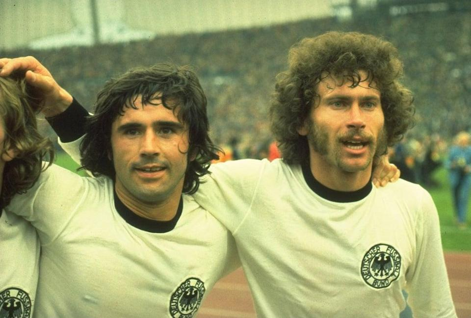 Brothers in arms: Muller,left, and Paul Breitner after the 1974 final (Getty)