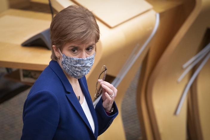 First Minister Nicola Sturgeon in the main chamber before delivering a statement announcing extra funding of �350 million over the next five years to tackle drug deaths in the Scottish Parliament in Edinburgh. Picture date: Wednesday January 20, 2021.