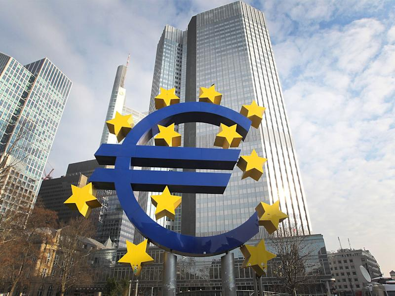 The ECB holds around £2.1trillion worth of government bonds through its quantitative easing programme: Getty