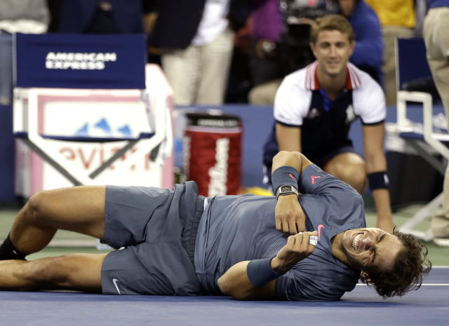 Rafael Nadal, of Spain, reacts after defeating Novak Djokovic, of Serbia, during the men's singles final of the 2013 U.S. Open tennis tournament, Monday, Sept. 9, 2013, in New York. (AP Photo/Darron Cummings)
