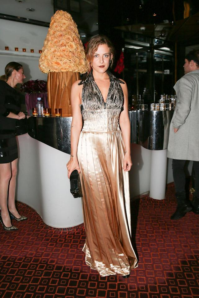 <p>Riley Keough<br> Versace Afterparty, Met Gala, New York, USA – 07 May 2018<br> (Photo: Shutterstock) </p>