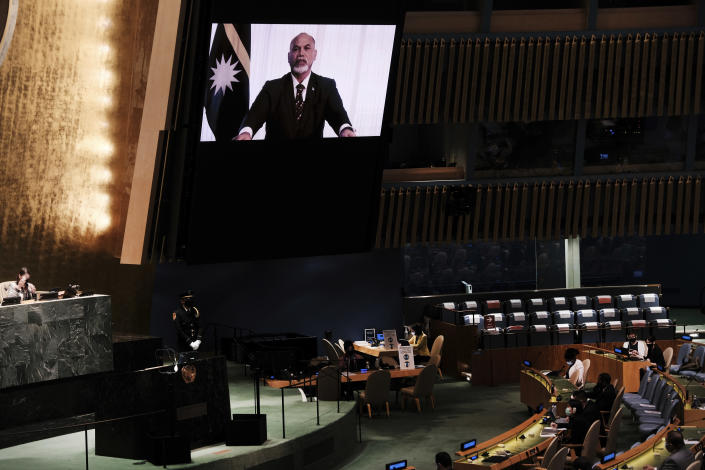 The President of Nauru, Lionel Aingimea speaks via video link during the 76th Session of the U.N. General Assembly at United Nations headquarters in New York, on Thursday, Sept. 23, 2021. (Spencer Platt/Pool Photo via AP)