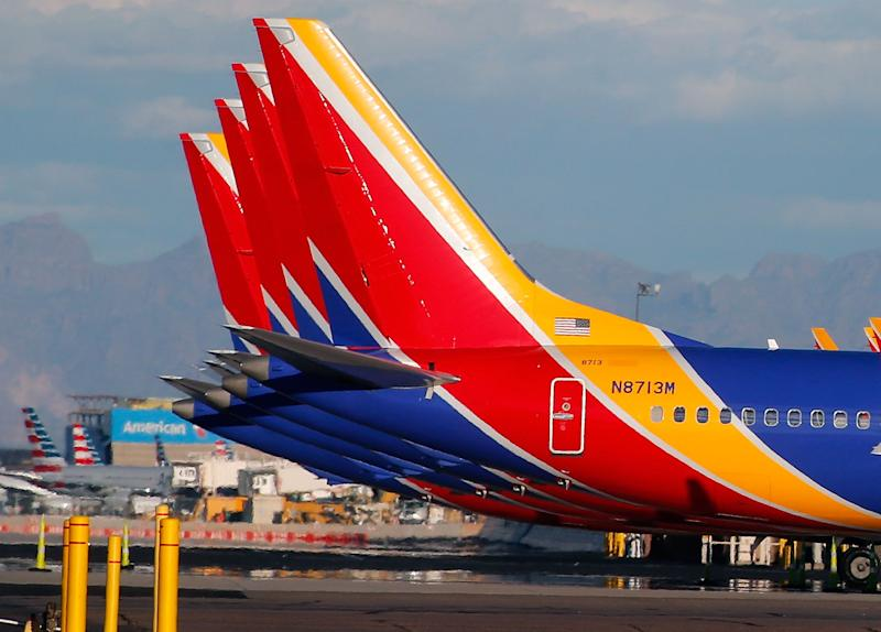 PHOENIX, AZ - MARCH 13: A group of Southwest Airlines Boeing 737 MAX 8 aircraft sit on the tarmac at Phoenix Sky Harbor International Airport on March 13, 2019 in Phoenix, Arizona. The United States has followed countries around the world and has grounded all Boeing 737 Max 8 aircraft following the crash of an Ethiopia Airlines 737 Max 8. (Photo by Ralph Freso/Getty Images)