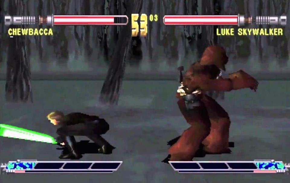 """<p>From the Let's Turn Everything Into <i>Street Fighter</i> file comes this absurdly bad brawler, which answered the question, """"Who would win in a fight: Chewbacca standing the wrong way or Luke rolling off screen?"""" If you answered """"Luke, because he has a lightsaber!"""" you have good intentions but are totally wrong, because <i>Masters of Teras Kasi</i> treats lightsabers like baseball bats. It also treats the <i>Star Wars</i> license like garbage.</p>"""