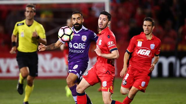 Diego Castro sealed a 1-1 draw for Perth Glory against Adelaide United after Dylan McGowan had put the A-League champions ahead.