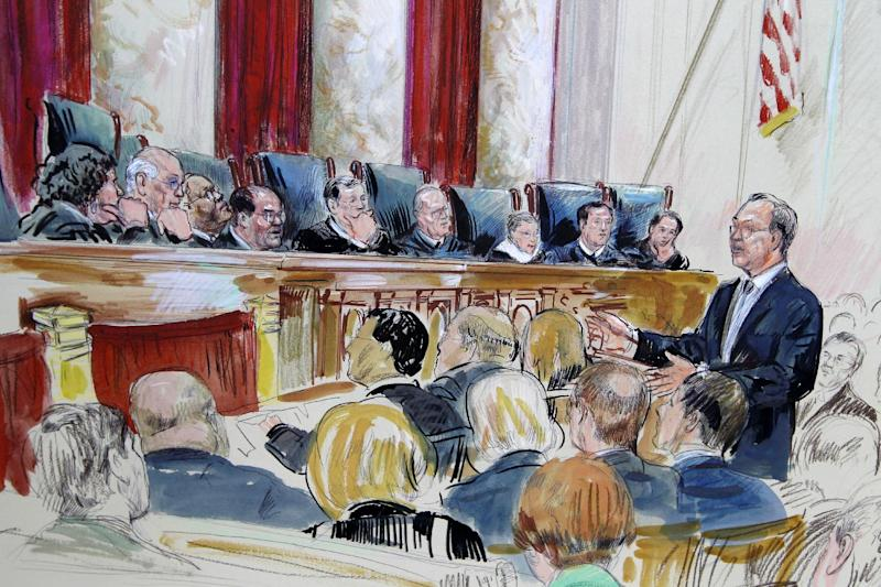 This artist rendering shows Paul Clement speaks in front of the Supreme Court in Washington, Tuesday, March 27, 2012, as the court continued hearing arguments on the health care law signed by President Barack Obama. Justices, seated from left are, Sonia Sotomayor, Stephen Breyer, Clarence Thomas, Antonin Scalia, Chief Justice John Roberts, Anthony Kennedy, Ruth Bader Ginsburg Samuel Alito and Elana Kagan. (AP Photo/Dana Verkouteren)