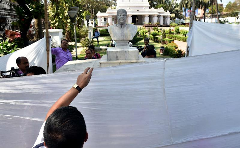 "The statue was found partially damaged and its face blackened. A poster was also found from the spot with the word ""radicals"" written on it. BJP condemned the ""barbaric act"" demanding strong action against the culprits."
