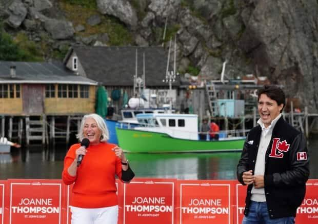 Liberal candidate Joanne Thompson joined Liberal Leader Justin Trudeau Monday evening for a campaign stop in St. John's East.  (Sean Kilpatrick/The Canadian Press - image credit)