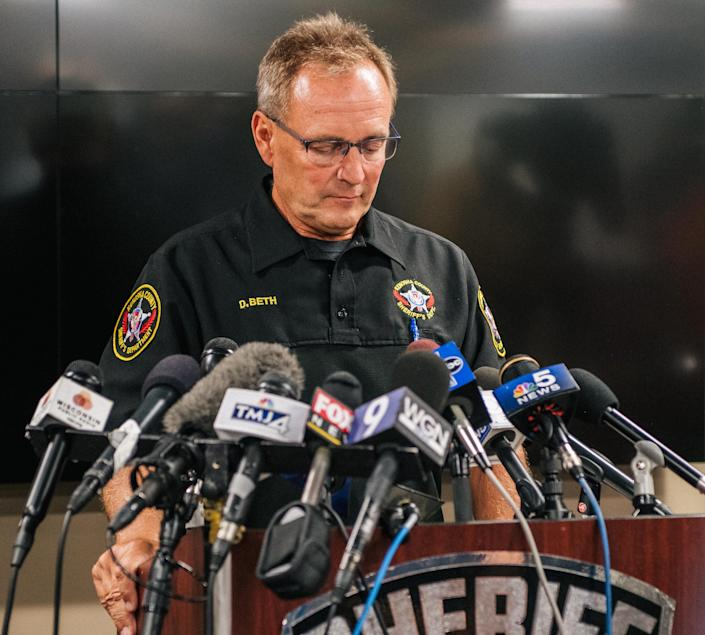 Kenosha Sheriff David Beth speaks at a news conference on August 26, 2020 in Kenosha, Wisc. Beth and other local officials discussed the recent civil unrest surrounding the police shooting of Jacob Blake. (Brandon Bell/Getty Images)