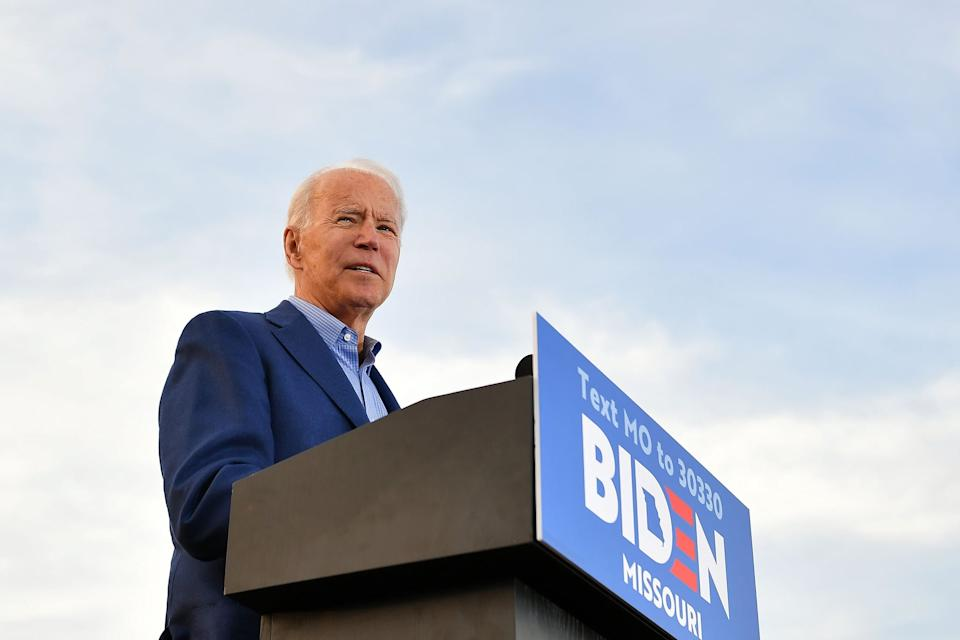 Democratic presidential candidate former Vice President Joe Biden speaks during a campaign rally at the WWI Museum and Memorial in Kansas City, Missouri on March 7, 2020. (Photo by MANDEL NGAN / AFP) (Photo by MANDEL NGAN/AFP via Getty Images)