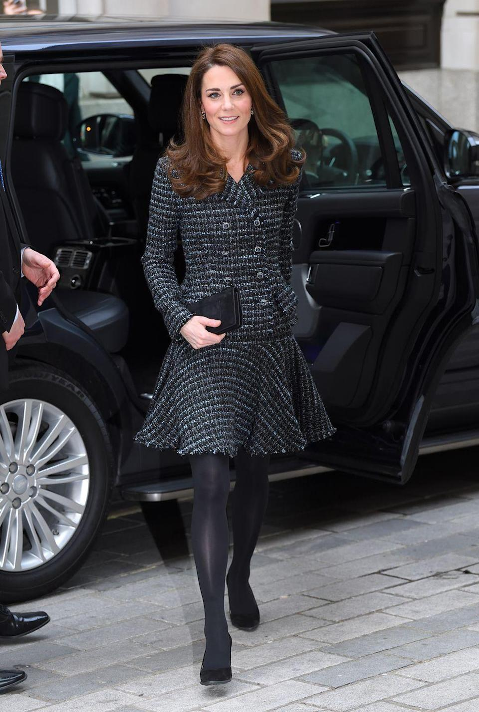 <p>The Duchess first wore this tweed skirt suit at a Mental Health In Education conference at Mercers' Hall in London. </p>