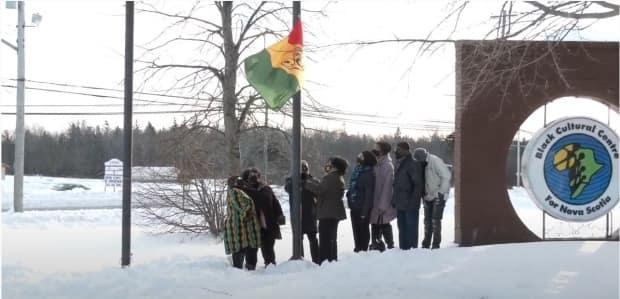 The official African Nova Scotian flag was raised at noon on Monday outside the Black Cultural Centre for Nova Scotia in Cherry Brook, N.S.