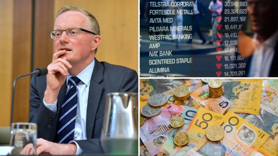 Pictured: RBA governor Philip Lowe, ASX board in the red, Australian cash. Images: Getty