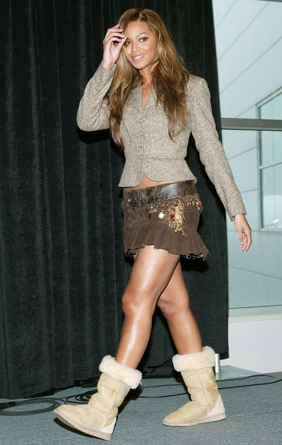 <p>Ugg boots and ruffled mini skirts—the outfit we all thought was *so* cute in 2004, including Beyoncé. </p>