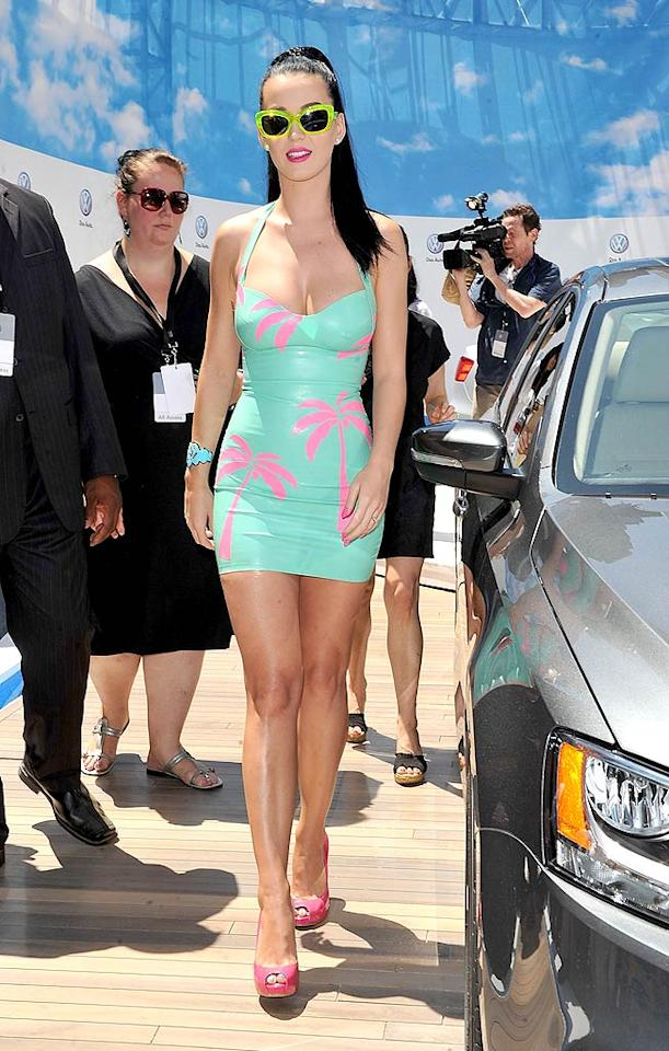 "Another pop star who certainly didn't look her best this past week was ""California Gurls"" singer Katy Perry, who donned this tacky, vinyl, palm tree-adorned mini to a Volkswagen bash in the Big Apple. James Devaney/<a href=""http://www.wireimage.com"" target=""new"">WireImage.com</a> - June 15, 2010"