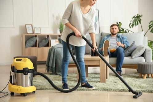 """<span class=""""attribution""""><a class=""""link rapid-noclick-resp"""" href=""""https://www.shutterstock.com/image-photo/wife-cleaning-floor-while-her-lazy-1339290866"""" rel=""""nofollow noopener"""" target=""""_blank"""" data-ylk=""""slk:from www.shutterstock.com"""">from www.shutterstock.com</a></span>"""