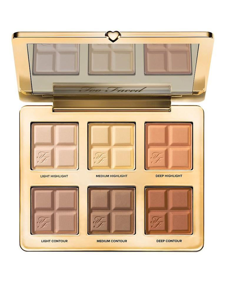 """<p><a class=""""body-btn-link"""" href=""""https://go.redirectingat.com?id=127X1599956&url=https%3A%2F%2Fwww.cultbeauty.co.uk%2Ftoo-faced-cocoa-contour-cocoa-infused-contouring-and-highlighting-palette.html&sref=http%3A%2F%2Fwww.elle.com%2Fuk%2Fbeauty%2Fmake-up%2Fg31850%2Fbest-contour-kit-palette%2F"""" target=""""_blank"""">SHOP NOW</a></p><p>Not only does this make your make-up bag smell of chocolate but it also gives you 1990's supermodel-esque cheekbones. Ranging from cool shades to warm, there's a shade for whatever your undertone. The buttery formula doesn't dry on cheeks but melts in for a seamless finish. </p>"""