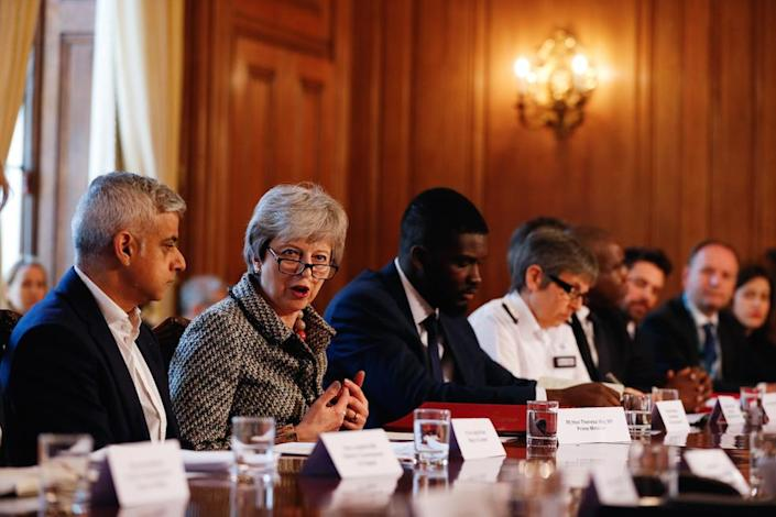 London mayor Sadiq Khan, prime minister Theresa May, Youth Justice Board co-chair Roy Sefa-Attakora and Metropolitan Police commissioner Cressida Dick during a youth violence summit in Downing Street (Picture: PA)