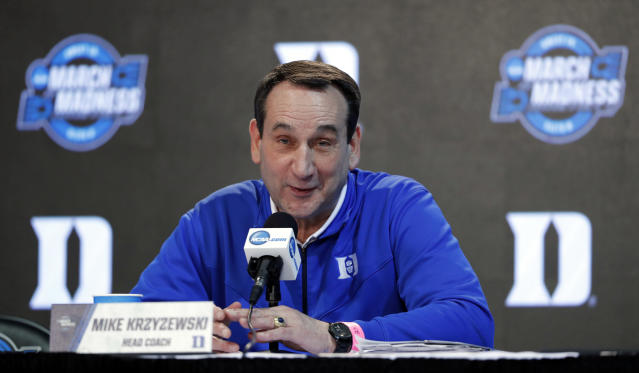 "Duke head coach Mike Krzyzewski called the NCAA corruption trial ""a blip."" (AP Photo/Charlie Neibergall)"