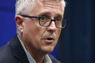 Houston Astros general manager Jeff Luhnow speaks during a news conference Thursday, Oct. 24, 2019, in Washington. The Astros and the Washington Nationals are scheduled to play Game 3 of baseball's World Series on Friday. (AP Photo/Patrick Semansky)
