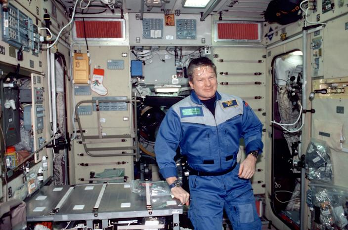 """Bill Shepherd in the Zvezda module of the space station, May 24, 2011. <p class=""""copyright"""">NASA</p>"""