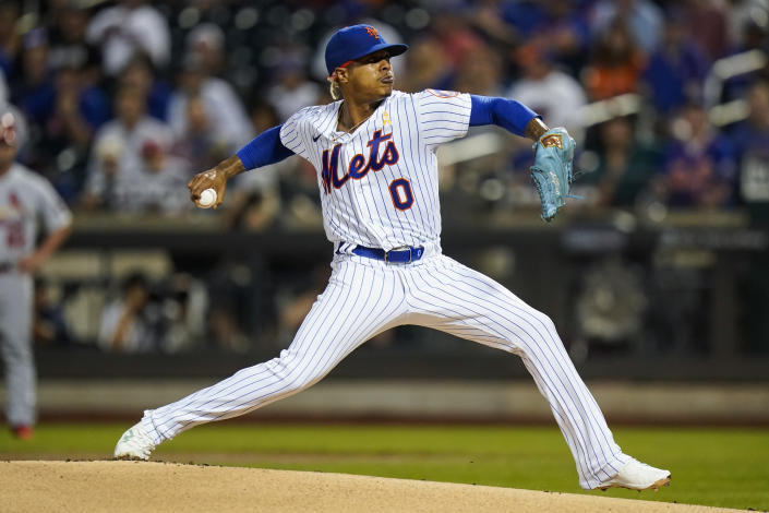 New York Mets' Marcus Stroman pitches during the first inning of the team's baseball game against the St. Louis Cardinals on Tuesday, Sept. 14, 2021, in New York. (AP Photo/Frank Franklin II)
