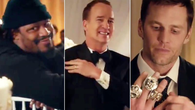 Marshawn Lynch Peyton Manning and Tom Brady. Image NFLMore