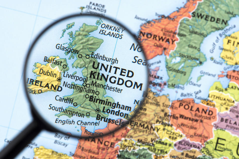 Map of United Kingdom. Detail from the World Atlas. Selective Focus.