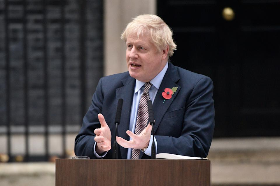Prime Minister Boris Johnson gestures as he addresses the nation at 10 Downing Street (Photo: Peter Summers via Getty Images)