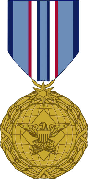 This image released by the Defense Department shows the obverse view with ribbon of the newly announced Distinguished Warefare Medal. The military has stopped production of a new medal for remote warfare troops _ drone operators and cyber warfighters _ as it considers complaints from veterans and lawmakers over the award, a government official said Tuesday. (AP Photo/Department of Defense)