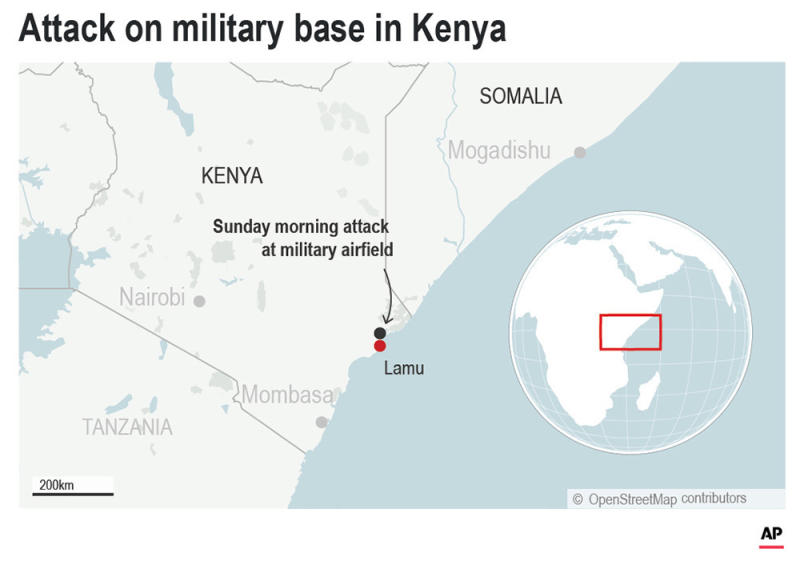 The U.S. military says the situation at a Kenyan airfield used by U.S. forces is