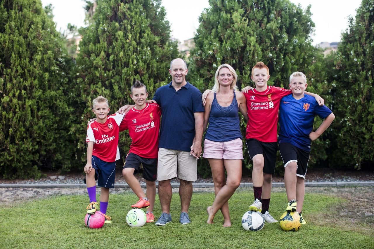 The Jones family at home. From right, Bryn, Taine, Steve, Siobhan, Rhys, and Kye.
