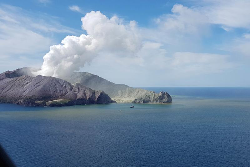 Pictured is White Island after it erupted on December 9. Source: AAP
