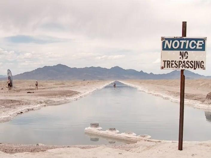 People visiting the canal close to the Bonneville Salt Flats in Utah have been told to stay away from the area.  (KUTV 2News)