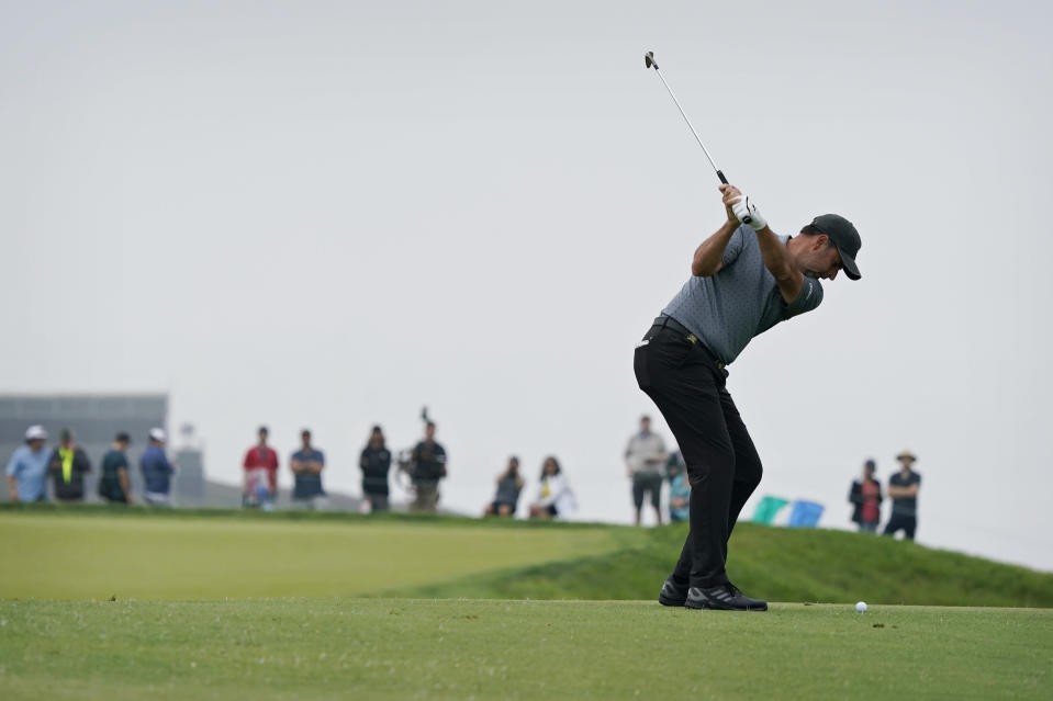 Richard Bland, of England, hits from the second fairway during the second round of the U.S. Open Golf Championship, Friday, June 18, 2021, at Torrey Pines Golf Course in San Diego. (AP Photo/Marcio Jose Sanchez)