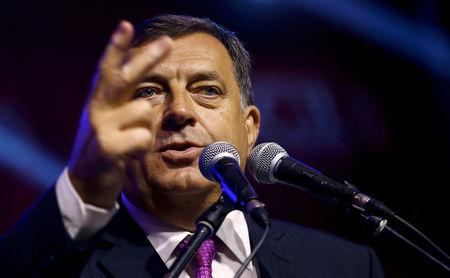 FILE PHOTO: Milorad Dodik, president of the Serb Republic, speaks in Pale, Bosnia, September 25, 2016. REUTERS/Dado Ruvic/File Photo