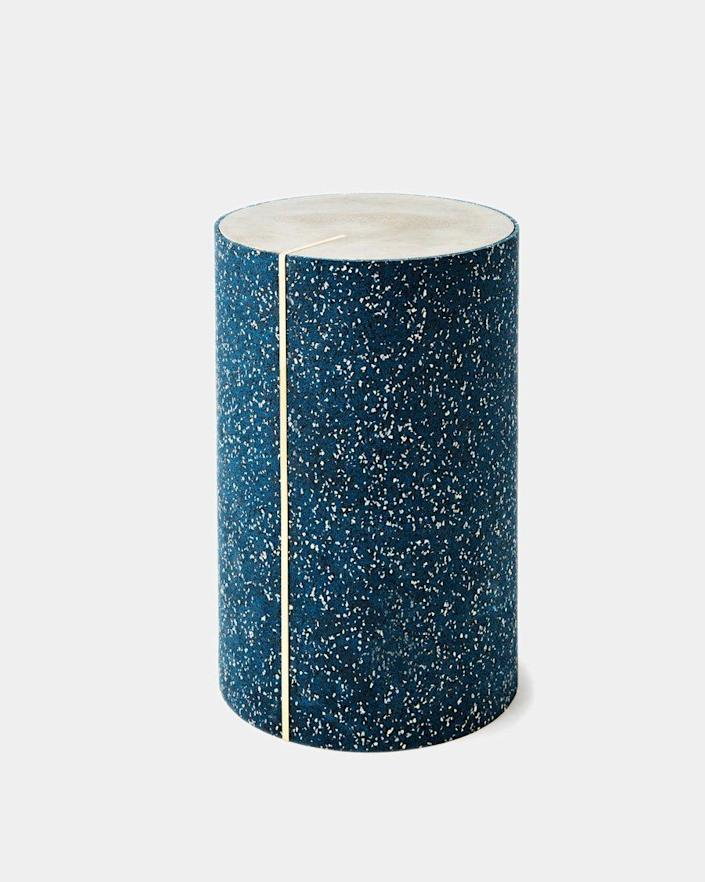 """These chic, brass-accented side tables by New York–based studio Slash Objects are clad in recycled rubber for a terrazzo-like look. With 280 million tires being discarded every year, there's plenty of rubber to recycle, and the company uses the same material for trivets, mouse pads, and storage baskets at slightly wallet-friendlier prices. $1056, Slash Objects. <a href=""""https://www.slashobjects.com/collections/rubber-cyl-tables/products/rubber-cyl-royal?variant=31556877910114"""" rel=""""nofollow noopener"""" target=""""_blank"""" data-ylk=""""slk:Get it now!"""" class=""""link rapid-noclick-resp"""">Get it now!</a>"""
