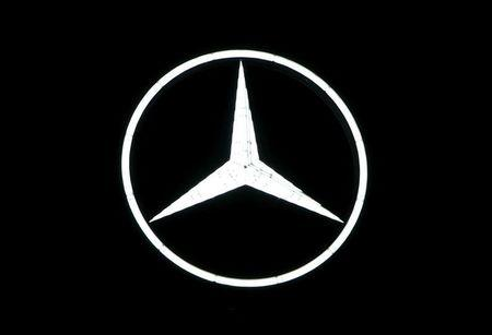 The Mercedes-Benz logo is pictured before the company's annual news conference in Stuttgart, Germany