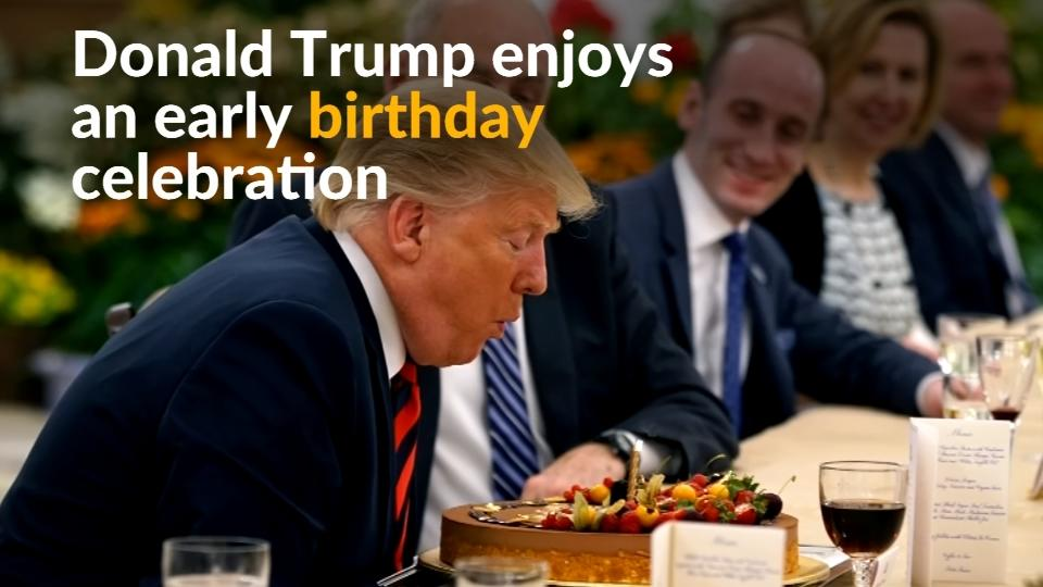 Singapore's PM Lee Hsien Loong surprised U.S. President Donald Trump with a birthday cake a day before the historic summit between North Korea and the United States.