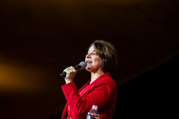 Democratic Presidential Candidate Senator Amy Klobuchar speaks during a campaign rally at the Altria Theatre in Richmond, Virginia.