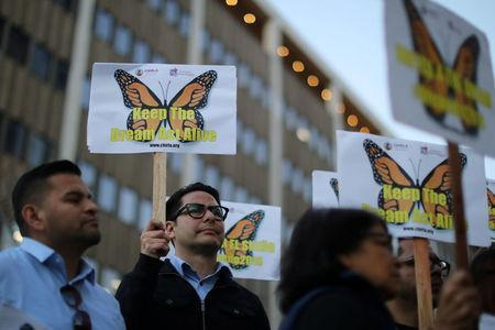 People protest for immigration reform for DACA recipients and a new Dream Act, in Los Angeles, California, U.S. January 22, 2018. REUTERS/Lucy Nicholson