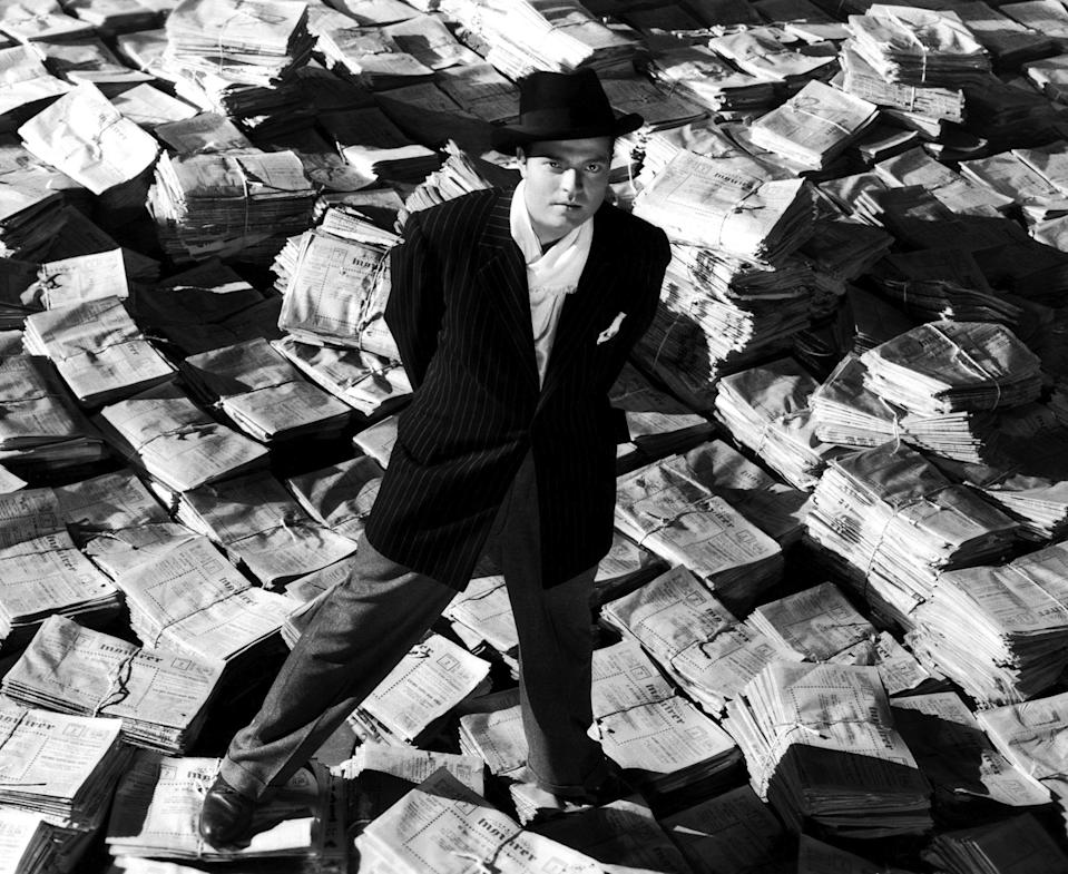 LOS ANGELES - 1941:  Actor, producer, writer and director Orson Welles poses as Charles Foster Kane in a scene from the RKO film 'Citizen Kane' in 1941 in Los Angeles, California. (Photo by Donaldson Collection/Michael Ochs Archives/Getty Images)