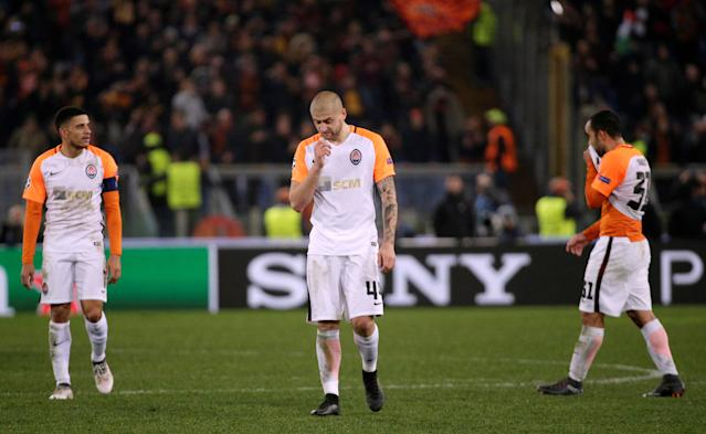 Soccer Football - Champions League Round of 16 Second Leg - AS Roma vs Shakhtar Donetsk - Stadio Olimpico, Rome, Italy - March 13, 2018 Shakhtar Donetsk's Yaroslav Rakitskiy looks dejected after the match REUTERS/Max Rossi